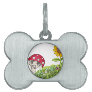 Toadstool with Sunflower and Ladybug products Pet Tag