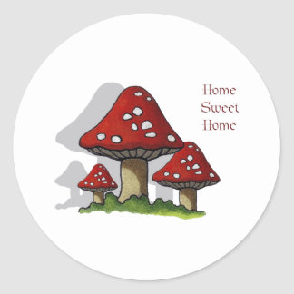 Toadstools: Art: Home Sweet Home Classic Round Sticker