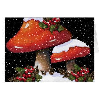 Toadstools del navidad: Copos de nieve, acebo, con Tarjetón