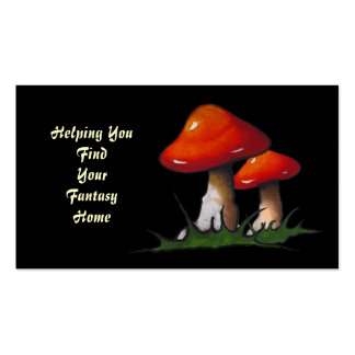Toadstools: Fantasy Home Real Estate: Black: Art Double-Sided Standard Business Cards (Pack Of 100)