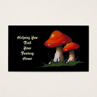 Toadstools: Fantasy Home Real Estate: Black: Art Business Card