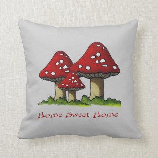 Toadstools: Home Sweet Home: Original Art Throw Pillow