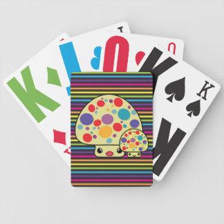 Toadstools manchados lindos coloridos de la seta d baraja de cartas