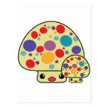 Toadstools manchados lindos coloridos de la seta d tarjetas postales