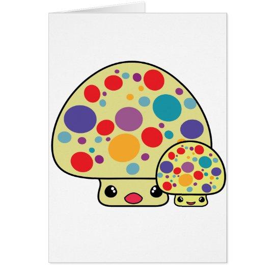 Toadstools manchados lindos coloridos de la seta tarjeta de felicitación