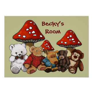 Toadstools & Teddy Bears: Child's Room Personalize Print