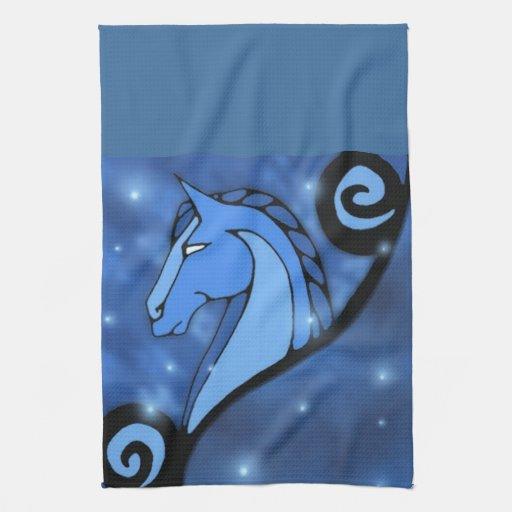 toalla azul del caballo