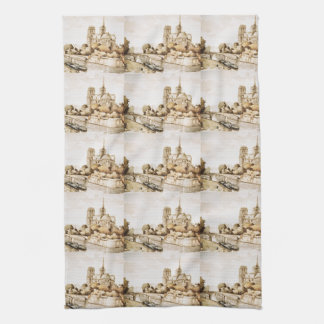 """Toalla con """"imagen de la catedral de Notre Dame"""""""