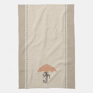 Toalla con monograma del paraguas de la mirada de