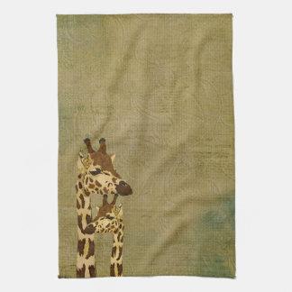 Toalla de bronce de oro de las jirafas