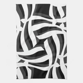 Toalla de cocina abstracta blanca negra