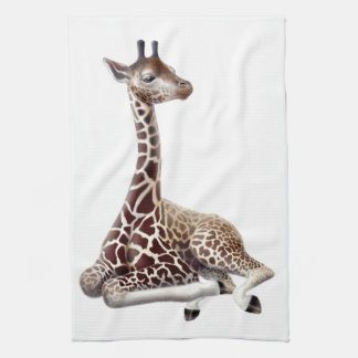 Toalla de cocina africana de la jirafa en descanso
