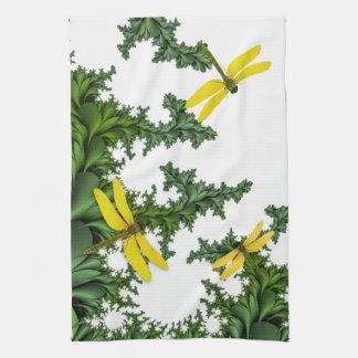 Toalla de cocina amarilla de las libélulas