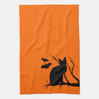 Toalla de cocina anaranjada de Halloween de la sil