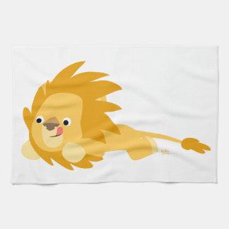 Toalla de cocina animosa linda del león del dibujo