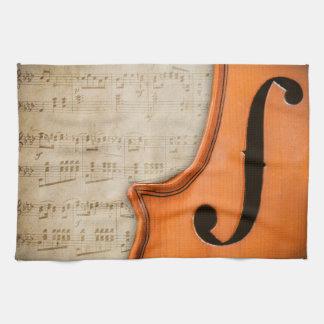 Toalla de cocina antigua vieja del violín del vint