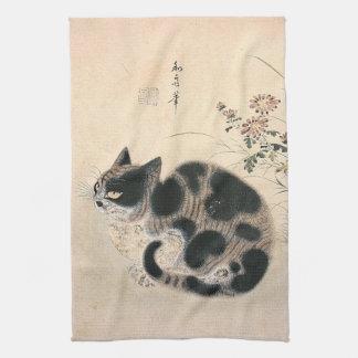 Toalla de cocina asiática del gato del vintage