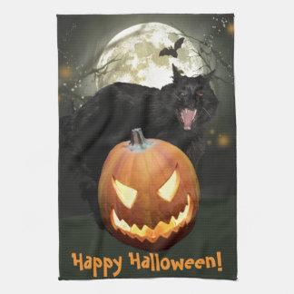 Toalla de cocina asustadiza de Halloween del gato