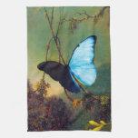 Toalla de cocina azul de la mariposa de Morpho