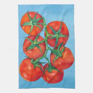 Toalla de cocina azul de los tomates rojos