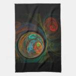 Toalla de cocina azul del arte abstracto del renac