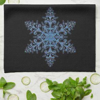 Toalla de cocina azul del copo de nieve