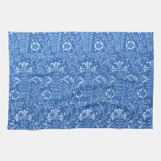 Toalla de cocina azul del Cornflower floral retro