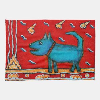 Toalla de cocina azul del perro