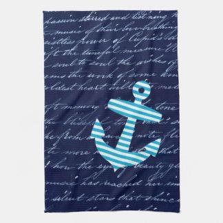 Toalla de cocina azul rayada náutica del ancla