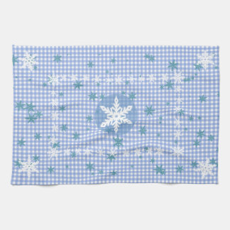 Toalla de cocina azul y blanca del copo de nieve