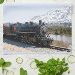Toalla de cocina blanca del tren del paso