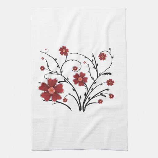 Toalla de cocina caprichosa roja de las flores
