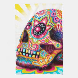 Toalla de cocina colorida del cráneo del azúcar