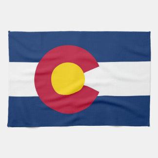 Toalla de cocina con la bandera de Colorado, los E