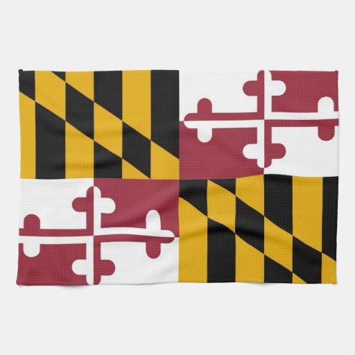 Toalla de cocina con la bandera de Maryland, los E