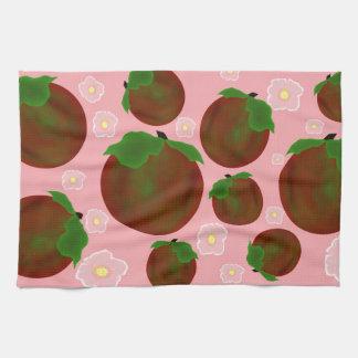 Toalla de cocina con las manzanas y los blossums