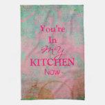 Toalla de cocina de encargo del rosa del Grunge