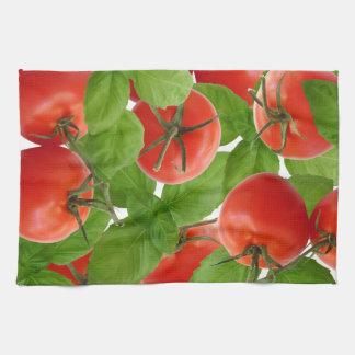 Toalla de cocina de la albahaca del tomate