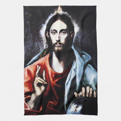 Toalla de cocina de la bendición de El Greco Crist