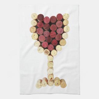 Toalla de cocina de la copa de vino del corcho