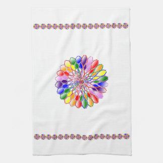 Toalla de cocina de la florecilla del arco iris
