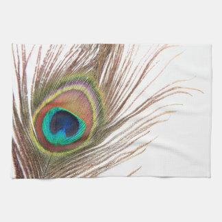 Toalla de cocina de la pluma del pavo real