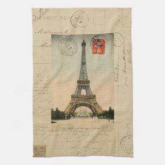 Toalla de cocina de la postal de la torre Eiffel