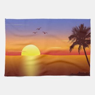 Toalla de cocina de la puesta del sol