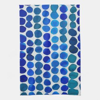 Toalla de cocina de los puntos en azul