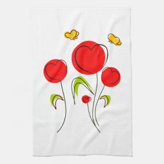 Toalla de cocina de los tulipanes del corazón