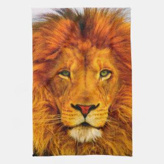 Toalla de cocina de ojos verdes pintada del león