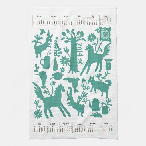 Toalla de cocina de Otomi con el calendario 2 de 2
