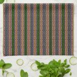 Toalla de cocina decorativa de la raya - verde/ros