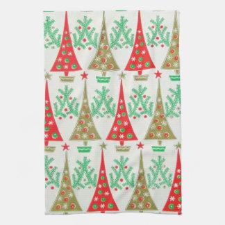 toalla de cocina del árbol de navidad del dibujo